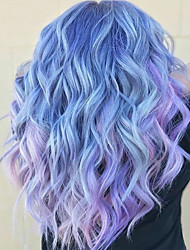 cheap -Costume Accessories Synthetic Wig Bangs Curly Water Wave Middle Part Neat Bang Wig Long Purple / Blue Synthetic Hair 24 inch Women's Party Synthetic Ombre Hair Blue Purple