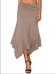 cheap -Women's Basic Asymmetrical Swing Skirts - Solid Colored Knitting / Patchwork Black Navy Blue Khaki S M L