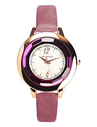 cheap -Women's Bracelet Watch Casual Minimalist Black White Red PU Leather Chinese Quartz Red Pink Dark Purple Cute Casual Watch 30 m 1 pc Analog One Year Battery Life