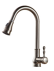 cheap -Kitchen faucet - Single Handle One Hole Oil-rubbed Bronze / Nickel Brushed / Electroplated Pull-out / ­Pull-down / Tall / ­High Arc Vessel