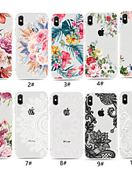 cheap -Case For Apple iPhone XS / iPhone XR / iPhone XS Max Transparent / Pattern Back Cover Flower Soft TPU