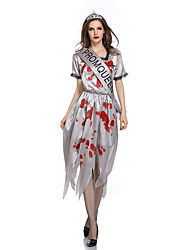 cheap -Ghostly Bride Cosplay Costume Adults' Female Cosplay Halloween Halloween Carnival Masquerade Festival / Holiday Polyster Gray Female Carnival Costumes Pattern