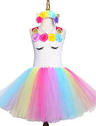 cheap -Girls Tutu Dress Tulle Evening Party Dresses Ball Gown Halloween Costume Headband