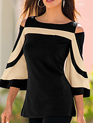 cheap -Women's Blouse - Floral / Color Block Cut Out Black