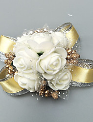 """cheap -Wedding Flowers Wrist Corsages Event / Party / Wedding Party Poly / Cotton Blend / Beads 1.57""""(Approx.4cm)"""