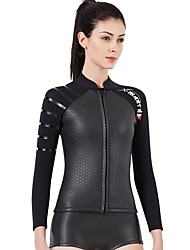 cheap -Dive&Sail Women's Wetsuit Top 3mm SCR Neoprene Top Thermal Warm Long Sleeve Front Zip - Diving Patchwork Autumn / Fall Spring Summer / Winter / Stretchy