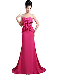 cheap -Mermaid / Trumpet Empire Elegant Engagement Formal Evening Dress Sweetheart Neckline Sleeveless Court Train Chiffon with Ruffles 2021