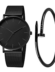 cheap -Men's Dress Watch Quartz Stainless Steel Black / Silver / Rose Gold 30 m Water Resistant / Waterproof Creative Large Dial Analog Casual Fashion - Black Silver Rose Gold