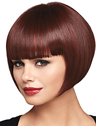 cheap -Synthetic Wig Bangs kinky Straight Neat Bang Wig Burgundy Short Brown / Burgundy Synthetic Hair 10 inch Women's Fashionable Design Smooth Women Burgundy