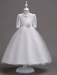 cheap -Princess Tea Length Wedding / First Communion Flower Girl Dresses - Lace / Satin / Tulle Half Sleeve Jewel Neck with Lace / Belt / Beading