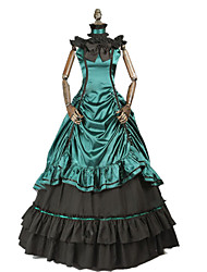 cheap -Princess Rococo Victorian Dress Party Costume Costume Women's Cotton Costume Dark Green Vintage Cosplay Masquerade Party & Evening Short Sleeve Floor Length Long Length Plus Size