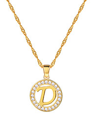 cheap -Women's Clear AAA Cubic Zirconia Pendant Necklace Necklace Charm Necklace X Letter Simple Fashion 18K Gold Plated Copper Platinum Plated Black Silver Rose Gold 55 cm Necklace Jewelry 1pc For Gift