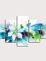 cheap -Print Rolled Canvas Prints - Abstract Floral / Botanical Classic Modern Five Panels Art Prints