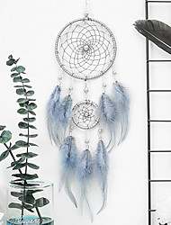 cheap -Boho Dream Catcher Handmade Gift Wall Hanging Decor Art Ornament Craft Feather 2 Circle Bead 46*11cm for Kids Bedroom Wedding Festival