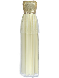 cheap -Sheath / Column Elegant Sexy Holiday Prom Dress Strapless Sleeveless Floor Length Tulle Sequined with Sequin 2020