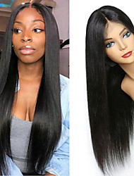 cheap -Human Hair Wig Medium Length Straight Side Part Party Women Best Quality Lace Front Brazilian Hair Women's Black#1B 18 inch 20 inch 22 inch