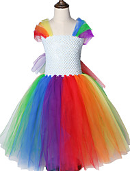 cheap -Rainbow Unicorn Theme Little Pony Pattern Round Collar Halloween Princess Girls Dresses