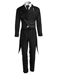 cheap -Inspired by Black Butler Sebastian Michaelis Anime Cosplay Costumes Japanese Cosplay Suits Solid Colored Long Sleeve Vest Shirt Pants For Men's Women's / Tuxedo / Tie / Necklace / Gloves / Badge