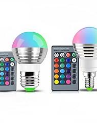 cheap -1pc 3 W LED Globe Bulbs 250 lm E14 E26 / E27 1 LED Beads SMD Dimmable Remote-Controlled Decorative RGB 85-265 V