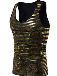 cheap -Men's Graphic Solid Colored Tank Top Sequins Sleeveless Daily Slim Tops Sexy Round Neck Black Gold Silver / Summer / Club