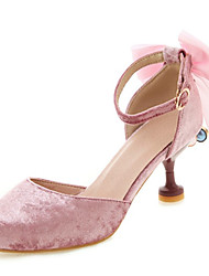cheap -Women's Wedding Shoes Kitten Heel Round Toe Rhinestone / Bowknot / Imitation Pearl Synthetics Spring & Summer Red / Pink / Beige / Party & Evening