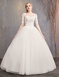 cheap -Ball Gown Sweetheart Neckline Floor Length Lace / Tulle Half Sleeve Formal Little White Dress Made-To-Measure Wedding Dresses with Appliques 2020 / Bell Sleeve