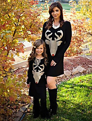 cheap -Mommy and Me Active Basic Geometric Animal Print Long Sleeve Regular Knee-length Regular Cotton Dress Black