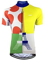 abordables -Malciklo Homme Manches Courtes Maillot Velo Cyclisme Bleu + jaune. Points Polka Cyclisme Maillot Hauts / Top VTT Vélo tout terrain Vélo Route Respirable Séchage rapide Anti-transpiration Des sports