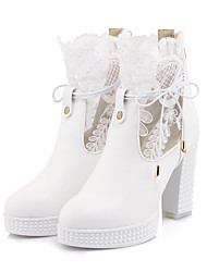 cheap -Women's Boots Spring &  Fall Chunky Heel Round Toe Classic Minimalism Daily Party & Evening PU Booties / Ankle Boots White / Black