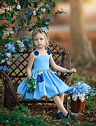 cheap -Toddler Girls' Sweet Boho Solid Colored Floral Lace Lace up Sleeveless Above Knee Dress Light Blue / Cotton