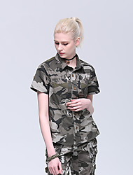 cheap -Women's Camo Hiking Tee shirt Short Sleeve Outdoor Breathable Quick Dry Sweat-wicking Comfortable Tee / T-shirt Top Autumn / Fall Spring Cotton Hunting Military / Tactical Camping / Hiking / Caving