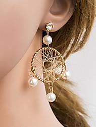cheap -Women's Multicolor Pearl Drop Earrings Braided Korean Pearl Imitation Diamond Earrings Jewelry Gold For Daily 1 Pair