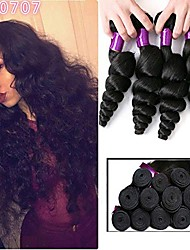 cheap -6 Bundles Brazilian Hair Loose Wave Remy Human Hair Natural Color Hair Weaves / Hair Bulk Bundle Hair One Pack Solution 8-28inch Natural Color Human Hair Weaves Newborn Cute Mini Human Hair Extensions