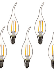 cheap -5pcs 1.5 W LED Candle Lights LED Filament Bulbs 200 lm E14 C35L 2 LED Beads High Power LED Decorative Warm White 220-240 V 220 V 230 V