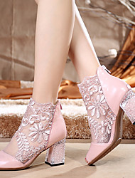 cheap -Women's Lace / Sheepskin Spring &  Fall Classic / Sweet Boots Chunky Heel Peep Toe Booties / Ankle Boots Stitching Lace Black / Pink / Wedding / Party & Evening