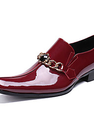 cheap -Men's Novelty Shoes Nappa Leather Spring / Fall Casual / British Loafers & Slip-Ons Non-slipping Black / Wine / Party & Evening / Party & Evening / Dress Shoes