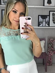 cheap -Women's Daily Wear Blouse - Solid Colored Dusty Rose, Lace / Chiffon / Fashion White / Spring / Summer / Fall