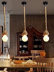cheap -Vintage Creative Multifunction Hemp Rope Pendant Lights 1-Light DIY Art Dining Room The Cafe Bar Counter Chandeliers Cord Length 100cm