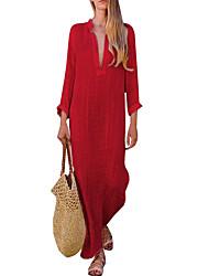 cheap -Women's Shift Dress Maxi long Dress Red Yellow Blushing Pink Light Green Long Sleeve Solid Colored Patchwork Deep V Elegant Boho S M L XL XXL 3XL