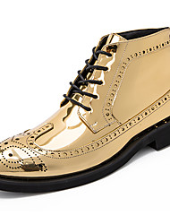 cheap -Men's Fashion Boots Patent Leather Fall & Winter Casual / British Boots Warm Booties / Ankle Boots Color Block Black / Gold / Silver / Party & Evening / Rivet / Party & Evening / Combat Boots