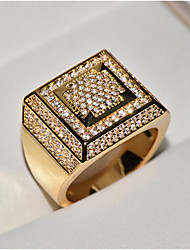 cheap -Men Band Ring Cubic Zirconia Classic Gold White Copper Cross Stylish Hip Hop Iced Out 1pc 8 9 10 11 12 / Men's