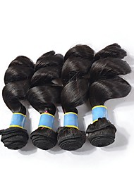cheap -4 Bundles Indian Hair Loose Wave Remy Human Hair Unprocessed Human Hair 400 g Natural Color Hair Weaves / Hair Bulk Bundle Hair Human Hair Extensions 8-28 inch Natural Color Human Hair Weaves Odor