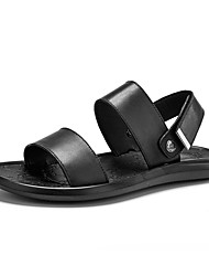 cheap -Men's Comfort Shoes Nappa Leather Fall / Spring & Summer Classic / Casual Sandals Breathable Slogan Black