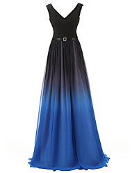 cheap -A-Line V Neck Sweep / Brush Train Chiffon Minimalist Formal Evening Dress with Sash / Ribbon / Ruched 2020