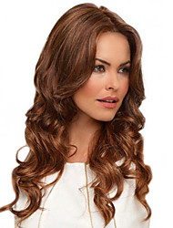 cheap -Synthetic Wig Bangs Curly Body Wave Middle Part Wig Long Brown / Burgundy Synthetic Hair 24 inch Women's Fashionable Design Women Synthetic Brown