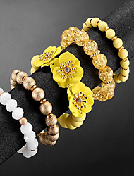 cheap -5pcs Women's Bead Bracelet Vintage Bracelet Earrings / Bracelet Layered Flower Unique Design Classic Vintage Fashion Cute Acrylic Bracelet Jewelry Yellow / Pink For Daily School Street Holiday