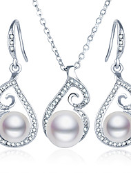 cheap -Women's Drop Earrings Pendant Necklace Vintage Style Classic Elegant European Imitation Pearl Earrings Jewelry Silver For Party Prom Festival 3pcs