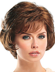 cheap -Synthetic Wig Bangs Curly Side Part Wig Short Brown / Burgundy Synthetic Hair 12 inch Women's Fashionable Design Women Easy dressing Brown