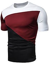 cheap -Men's T shirt Graphic Color Block Patchwork Tops White Black Wine