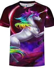 cheap -Men's Plus Size Cotton T-shirt - Rainbow / Animal Print Round Neck Purple